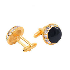 Royal Men's Black & Gold Crystal Wedding Shirt Cuff Links Cufflinks Party Gift