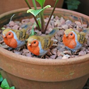 Set of 3 Pot Topping Robin Bird Garden Ornaments