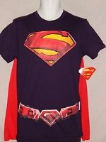 New Superman Movie Cape T Shirt DC Comics Book Costume Cosplay Man of Steel Mens