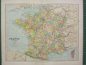 1869 ANTIQUE MAP ~ FRANCE IN DEPARTMENTS VENDEE INDRE SOMME PARIS INSET CORSICA