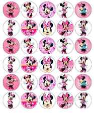 30 X MINNIE MOUSE DISNEY DECORAZIONI per cupcake wafer commestibile Carta Fata Cake Topper