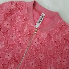 Beautees Girls Kids Jacket Zip Up Fashion Sz 8 Pink Laced Floral