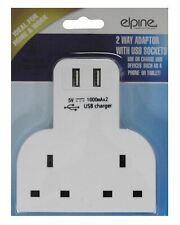 13A 2 Way Wall Adaptor Socket Phone Tablet USB Charging Ports 3 Pin Plug UK Main
