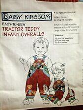 Daisy Kingdom Tractor Teddy Infant Overalls Fabric Panel 6 MO 12 MO 24 MO