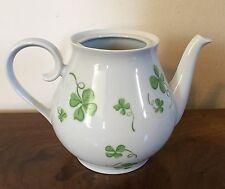 Vintage Porthault Limoges Paris Porcelain Tea Pot Shamrock Irish Green Clover