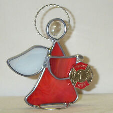 Fireman's Wife Red Stained Glass Angel Made in America Fire Fighter Handmade New