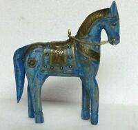 Handcrafted Wooden Brass Fitted Horse Statue Home Decor