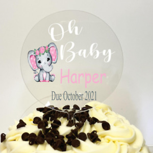 Personalized Acrylic Baby Shower Cake Topper, Your choice of text & date