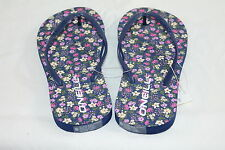"O'NEILL WOMAN'S GRAPHIC BLUE ""FLORAL"" FLIP FLOP SANDALS with RUBBER SOLE size 6"