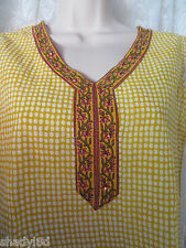 AKKRITI BLOUSE Crushed Polka Dot Sequins Cotton NWT Medium Yellow