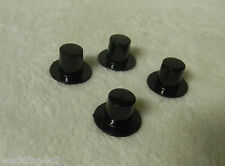 (6) Mini Plastic Black Top Hats Snowman or Wedding Shower Party Favor 19x11mm