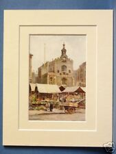 NORWICH MARKET PLACE AND GUILDHALL VINTAGE DOUBLE MOUNTED HASLEHUST PRINT 10X8