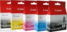 5 X Canon Original Pixma (pgi-5pk & Cli-8) De Inyección De Tinta Cartuchos Para Ip4200, Ip 4200