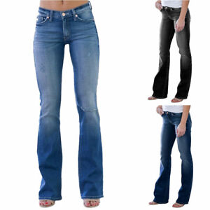 Womens Trousers Ripped Bootcut Jeans Ladies Slim Fit Denim Holiday Casual Pants