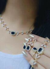 Indian Pakistan Bollywood American Diamond Necklace Combo Blue Party Wear