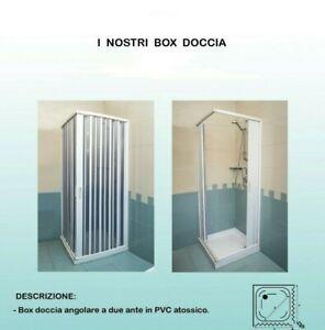 BOX DOCCIA CM 70X70 h185 2 ANTE CHIUSURA AD ANGOLO A SOFFIETTO IN PVC BIANCO