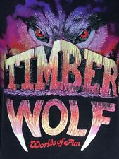 Vtg Roller coaster Tshirt Timber Wolf Worlds Of Fun Wooden 90's Black Tee