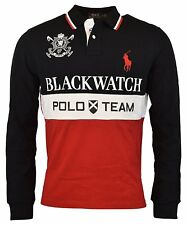 3316-3 Polo Ralph Lauren Mens Red Black Blackwatch Rugby Polo Shirt Sz Large L