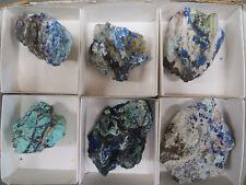 6 Piece Azurite and Chrysocolla Crystal Flat Concepción del Oro Zacatecas Mexico