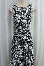 Ralph Lauren Dress Petite Sz 8P Black Cream Print Pleated Career Cocktail Dress
