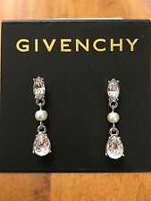 Givenchy Silver Tone Faceted Crystal and Pearl Drop Stud Earrings, NWT $42
