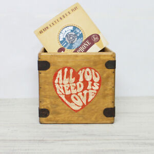 """Love Record Box 7"""" Valentines Gift Vintage Solid Wood Handcrafted Vinyl Crate"""