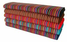 Red Peruvian Fabric 48' Wide Yard Tribal Ethnic Stripy Woven Textile Aguayo Str