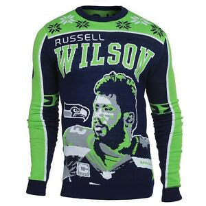 NFL Ugly Sweater Seattle Seahawks Russell Wilson Jumper Christmas Style