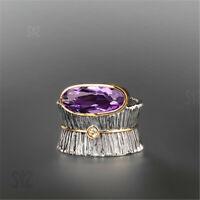 Fashion Oval Amethyst 925 Silver Two Tone Ring Wedding Bride Jewelry Women Gifts