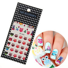 Nail Art Water Decals Cartoon Owl Manicure Transfer Stickers Decor Born Pretty