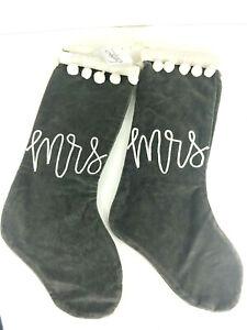 Primitives by Kathy ~ Christmas ~ Velvet Stocking Set ~ Mr. & Mrs.
