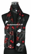 Handmade Floral Lace Sheer Scarf Shawl Wrap Colorful Embroidery Sequin, Black 2