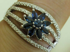 R215 Genuine 9ct White Gold NATURAL Sapphire & Diamond Blossom Ring size N