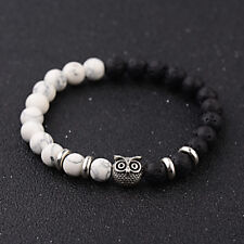 Men's Bracelets Rock Lava Howlite Owl Head 8MM Natural Stone  Fashion Jewellery