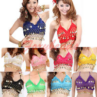 9 Colors Women Sexy Folded Lace Gold Coins Belly Dance Bra Top Dancewear Costume