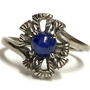 Vintage D.S. 10k White Gold Blue Star Sapphire Ring size 6.5