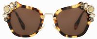Miu Miu Damen Sonnenbrille SMU03S 7S0-8C1 52mm braun gold Strasssteine G DS04 H