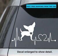 Love Chihuahua heartbeat car truck window decal sticker #735