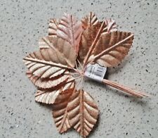12 Rose Gold Fabric Leaves for cake decorations, bouquets or buttonholes