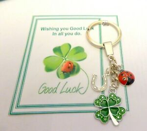 Good Luck Charm Gift Key Ring 4 Leaf Clover Lucky Horseshoe & Ladybird +Gift bag