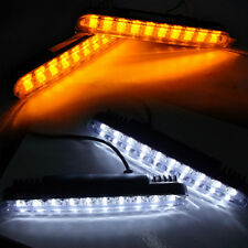 LED Car White DRL & Amber Turn Signal Daytime Running Light Daylight 2 x 30cm
