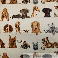 BonEful Fabric Fq Cotton Quilt Cream Brown Dog Breed Stripe Collie Boxer Pug Lab