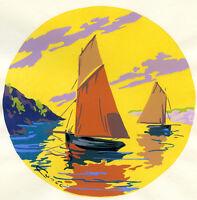 1930s French Pochoir Print Art Deco Seascape View SailBoats Dawn Sunrise