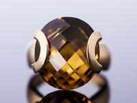 moderner und ausgefallener 23ct. Citrin Ring / Gold 585 / aufregendes Design