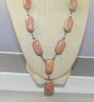 Vintage Jasper Stone Necklace & Matching Link Bracelet Reversible to Black Stone