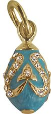 Faberge Egg Pendant / Charm with crystals 1.5 cm light blue #0977-10