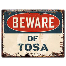 Ppdg0095 Beware of Tosa Plate Rustic Tin Chic Sign Decor Gift