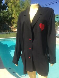 Vintage Carole Little 80s Oversized Black Blazer  Jacket Sz 8 Red Heart❤️