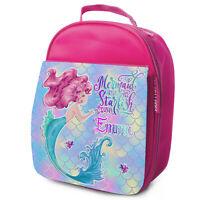 Mermaid Lunch Bag School Childrens Girls Insulated Pink Personalised Cute KS201
