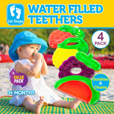 1st Steps 4pk Baby Teethers Water Filled Fruit Designs Soothing Cooling